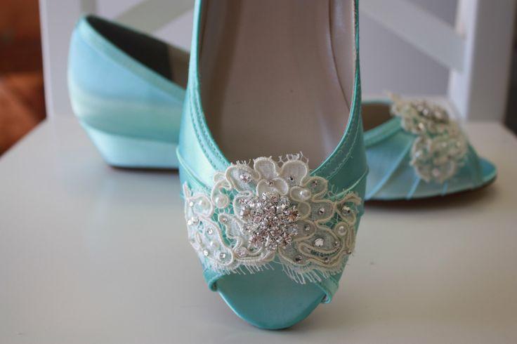 Handmade Lace Wedge Wedding Shoe -Choose From Over 100 Colors - Tiffany Blue Wedding Shoes  - Lace Wedding Wedge Bridal Shoe By Parisxox by Parisxox on Etsy https://www.etsy.com/listing/159992509/handmade-lace-wedge-wedding-shoe-choose