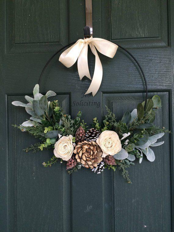Christmas Wreath Wreath For Christmas Christmas Decor Hoop Wreath Modern Wreath Door Wreath Front Door Wreath Natural Wreath Diy Christmas Decorations Easy Christmas Decor Diy Easy Christmas Diy