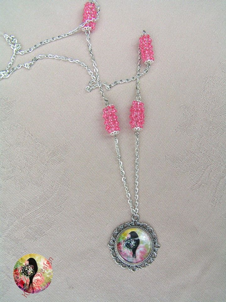 Rainbow birdie  --   Silver plated necklace with beaded beads whose color match to the image.