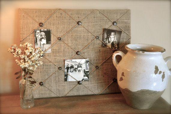 burlap+photo+board   Burlap Memory Board, Rustic Photo Board, Cottage-Chic Picture Board