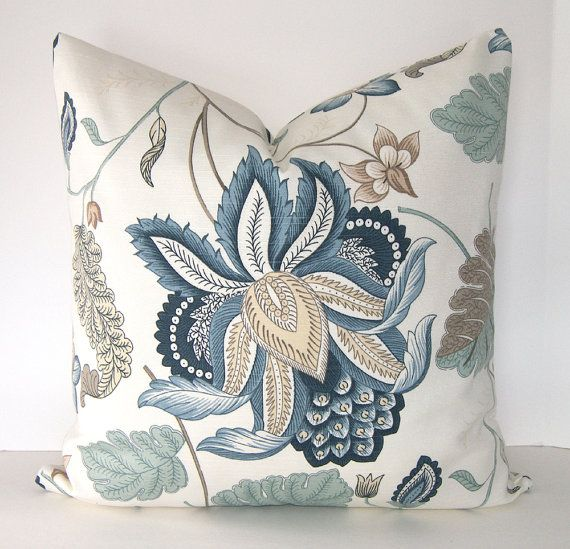 Both Sides   Decorative Pillow Cover   Euro Sham   Square   Blue Floral    Teal   Grey  Shades Of Blue    Ivory   Taupe