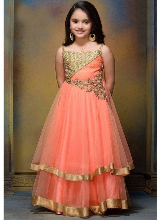 Latest Peach Mono Net Designer Gown @Rs.1699 #Fancy #Gorgeous #Stylish #Designer #Latest #Kids #Gown