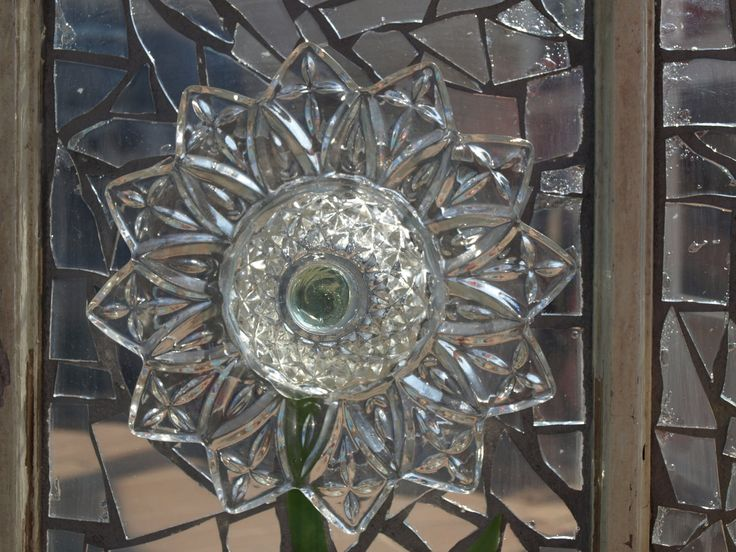 Repurpose Stained Glass Mosaic Window Glass Plate Flowers Vintage Wooden ART. $275.00, via Etsy.