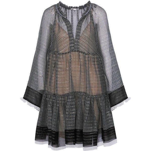 Stella Mccartney Metallic silk-blend chiffon mini dress (3.125 RON) ❤ liked on Polyvore featuring dresses, black, metallic short dress, chiffon ruffle dress, ruffle dress, slimming dresses and metallic dress