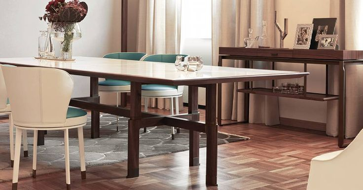 Una serie de mesas con forma rectangular redonda o cuadrada con estructura de madera de nogal o Canaletto sólido. La parte superior con perfiles en madera de nogal lacado es crujido y está disponible en colores blanco y marrón con acabado mate o brillante.  #muebles #furniture #passionfordesign #arquitectura #architecture #homedecore #homedesigns #elementsofstyle #interiordesign #stylishliving #mesa #table by themuebles