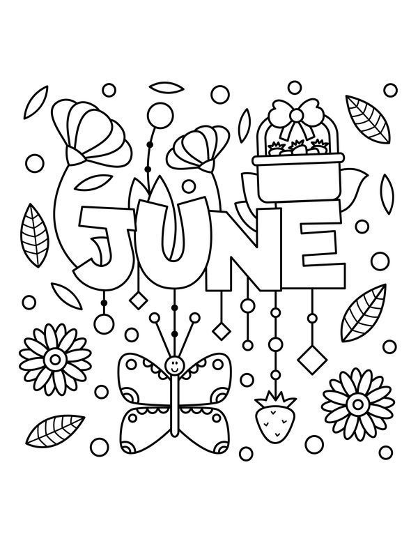 June Coloring Pages Summer coloring pages, Fall coloring