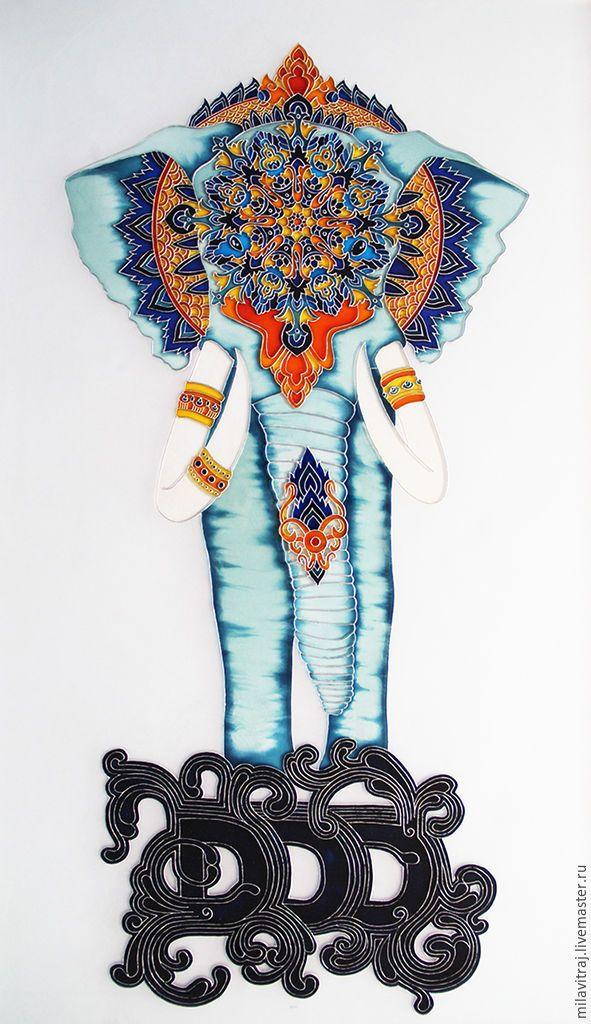 """Купить Витражная роспись """"слон"""" - стекло, стеклянная картина, картина на стекле, роспись на стекле, символизм"""