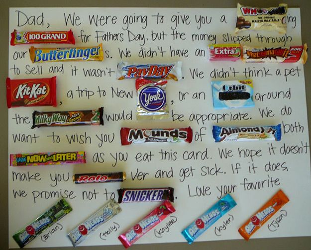 Simple DIY Card Ideas for Father's Day | Fun Candy Bar Card Idea by DIY Ready at http://diyready.com/21-diy-fathers-day-cards/