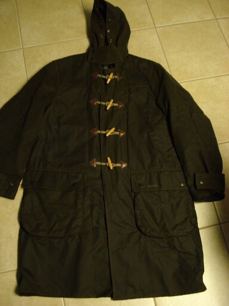 Mens BARBOUR A871 Hooded WAX DUFFLE Coat Jacket Size Large #Barbour #Parka
