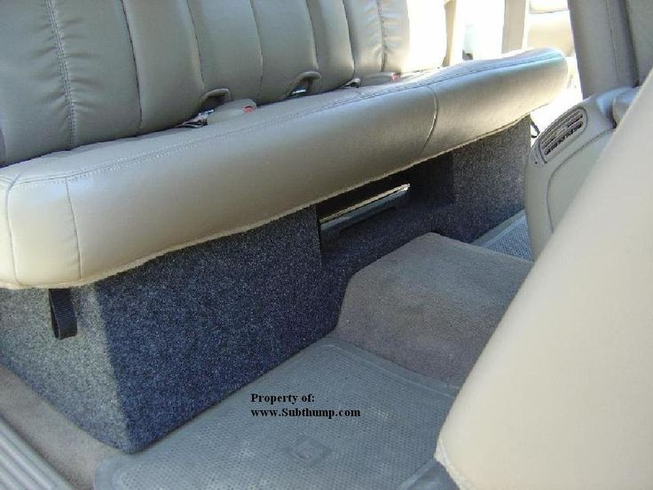 "1999-2006 Chevy Silverado / GMC Sierra Extended Cab Dual 10 Downfire With Amp Space Sub Box. For 99-06 and 07 Classic GM Extended Cabs. Fits Under Rear Seat and Subs Fire Down. Holds Two 10"" Subs, cutout size is 9-1/8"". Has .70 cu.ft. sealed volume per chamber. Amp shelf size: 18""w x 13""d."