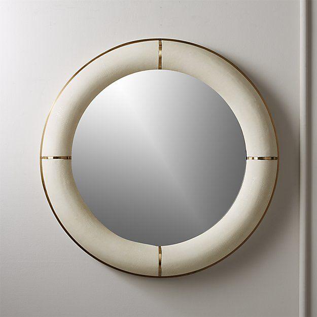 White Round Shagreen Mirror 36 Reviews Cb2 Modern Mirror Wall Mirror Wall Gold Mirror Wall