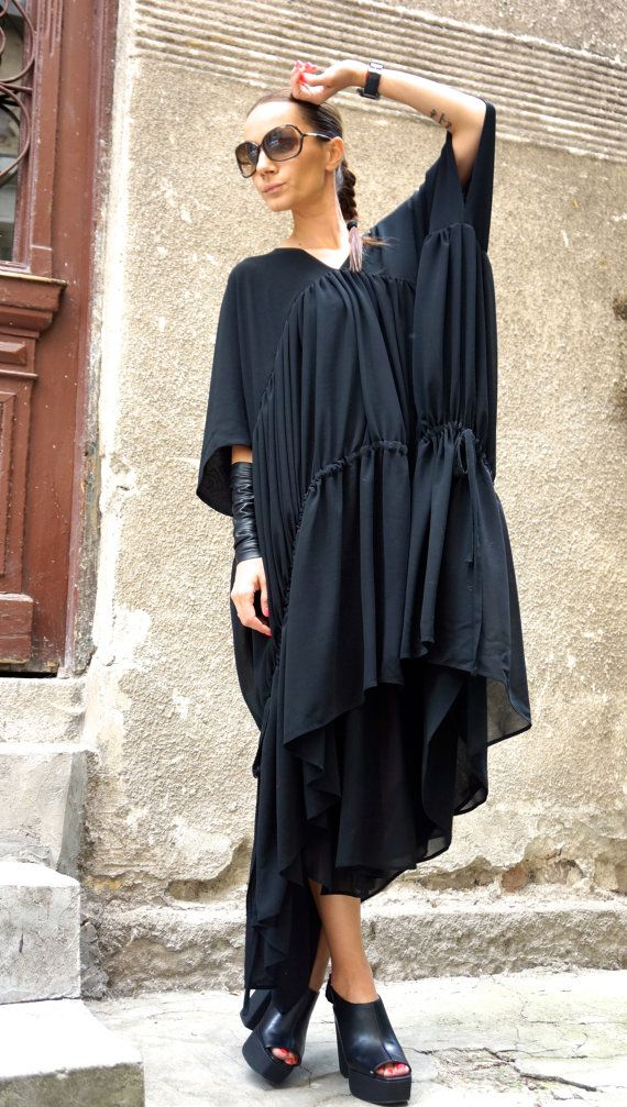 ONE SIZE Maxi Dress / Black Kaftan / Extravagant Long от Aakasha