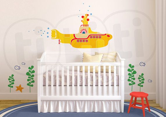 Yellow Submarine Wall Decal for Baby's Room or Bathroom