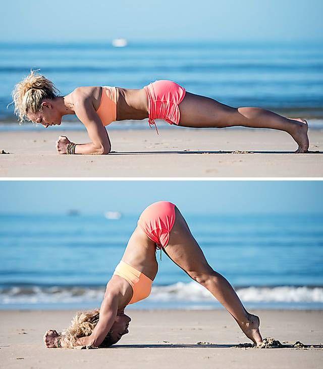 Gört: Ställ dig i plankan med vikten långt fram. Axlarna ska ha passerat armbågarna, vilket är extremt jobbigt för axlar och bål. Skjut dig sedan bakåt till en fällkniv med sittbenen upp mot himlen och vikten så långt bak som möjligt. Det öppnar upp axelpartiet. Här ska det ta: Övningen bygger styrka i hela överkroppen och gör dig även vigare och rörligare.