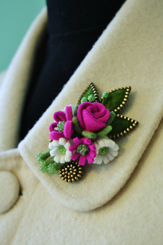 Felt and zipper flower corsage by woollyfabulous on Etsy, $40.00