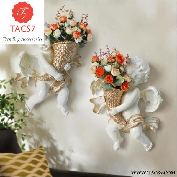 Creative Angel Wall Hanging Vase Flower Pot Plant Art Flower Decorations Flower Pots Wall Hanging Living Room