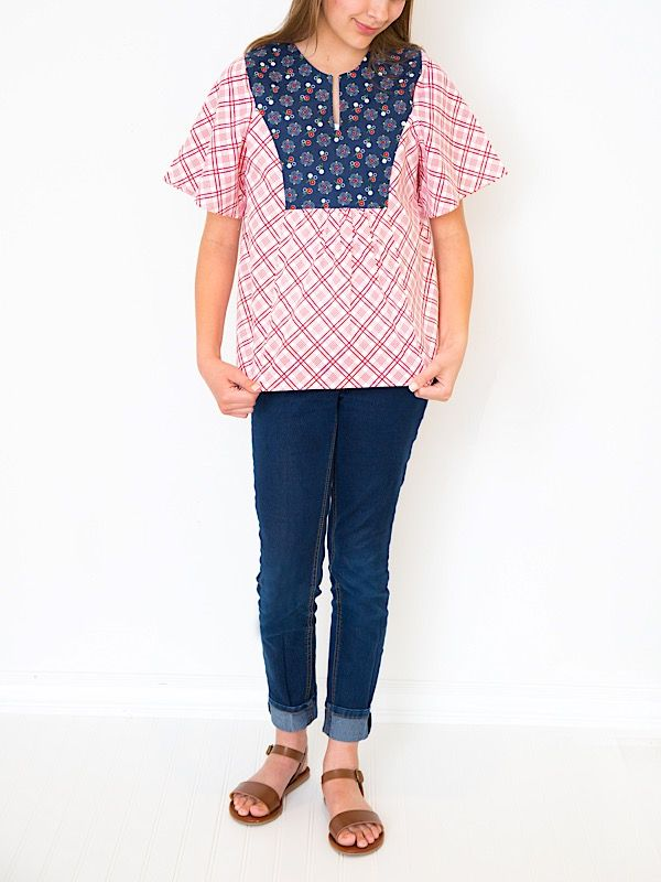 Boho Blouse: Gingham Girls fabric designed by Amy Smart for Penny Rose Fabrics