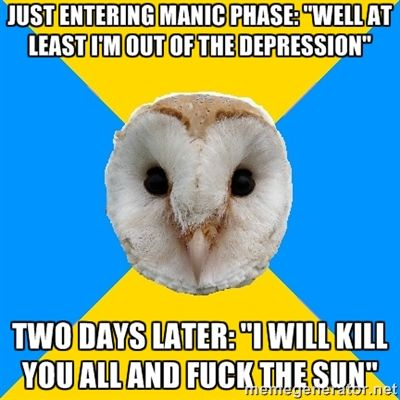 Bipolar Owl on starting mania. Something like that. Manic talk: I will kill you all and fuck the sun.