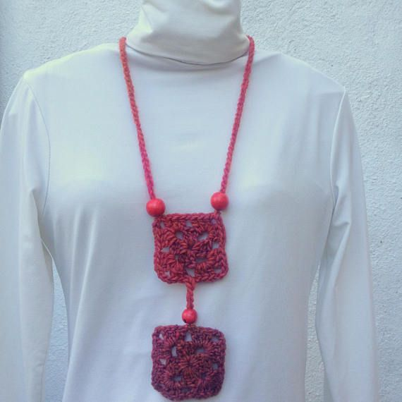 Jewellery Necklace Crochet squares necklace granny's
