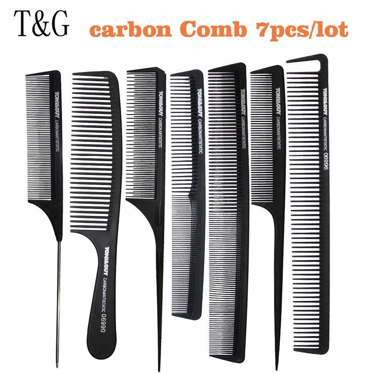 Professionnel Peigne à Queue, 7 pcs Cheveux Peigne De Carbone Antistatique Peigne En Noir Couleur, résistant à la chaleur Coupe de Cheveux Peigne T & G-08 Pour Salon