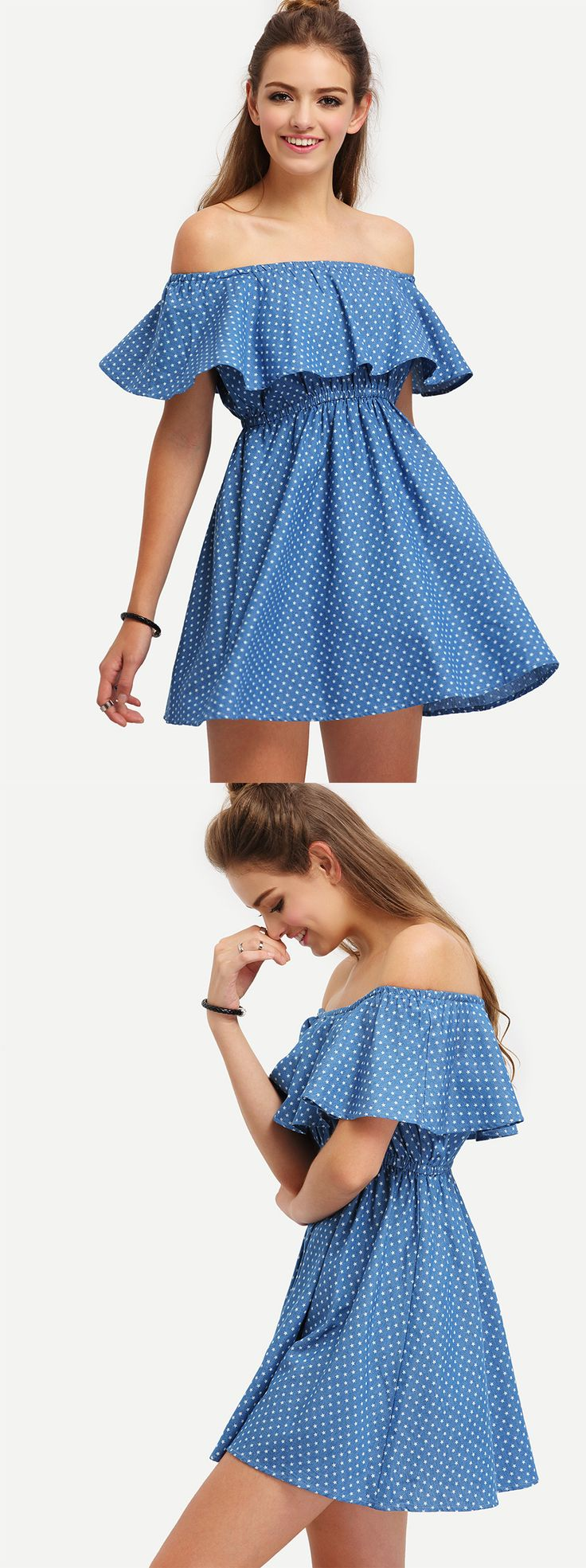 *SHEIN (SHEINSIDE) || Blue off the shoulder starts print dress | Vestido azul estampado con estrellas