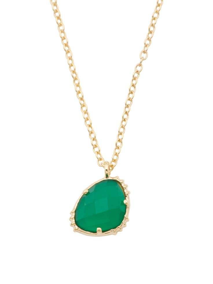 Made In India 14k Gold Plate Green Onyx Necklace
