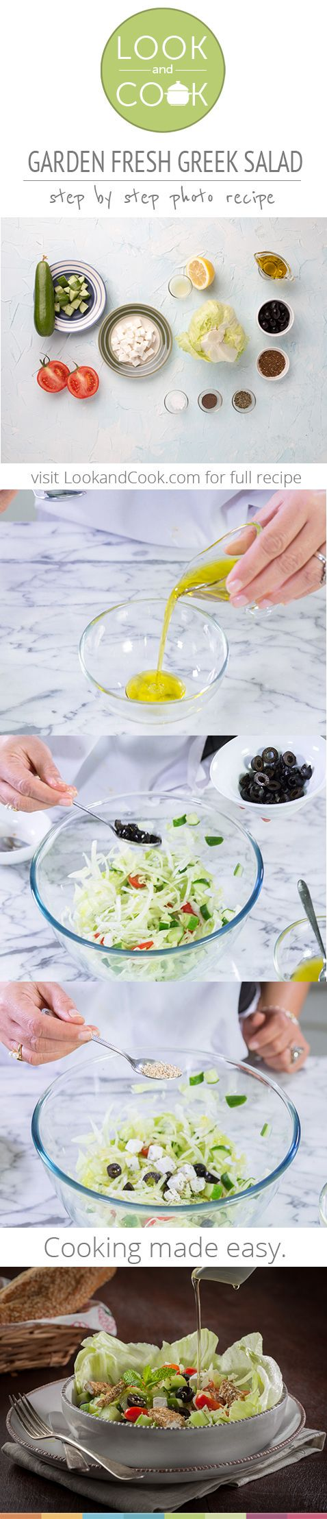 GARDEN FRESH GREEK SALAD RECIPE GARDEN FRESH GREEK SALAD RECIPE (LC14205) : This salad is a quick and easy to make healthy salad. The Zaatar and Feta cheese give it a good Mediterranean flavor.