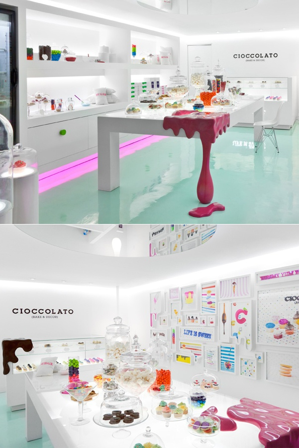 Dripping With Deliciousness :Cioccolato Store Design  Cioccolato is a pastry boutique specialized in custom deserts for special events designed by Studio Savvy.