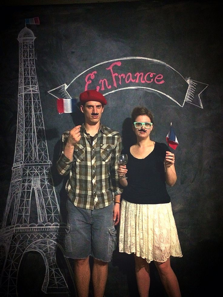 French party. eiffel tower background on chalkboard. Photo booth