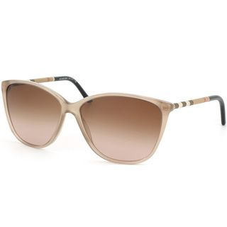Burberry Women's BE 4117 301213 Sand Plastic Cat-eye Sunglasses | Overstock™ Shopping - Big Discounts on Burberry Designer Sunglasses