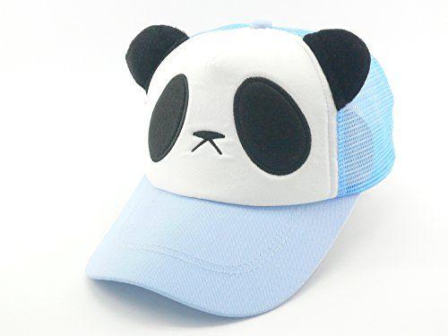 Oidon Summer Panda Cartoon Head Low Profile Flex Fit Baseball Shadow Mesh Cap (Child 49-56cm 19.3-22.0inch, Sky Blue)