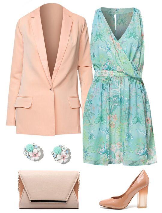 Светло-розовый Пиджак Camelot, голубое платье с цветами Maison Espin, Серьги Lovely Jewelry, Клатч INCITY, Туфли Basic Editions
