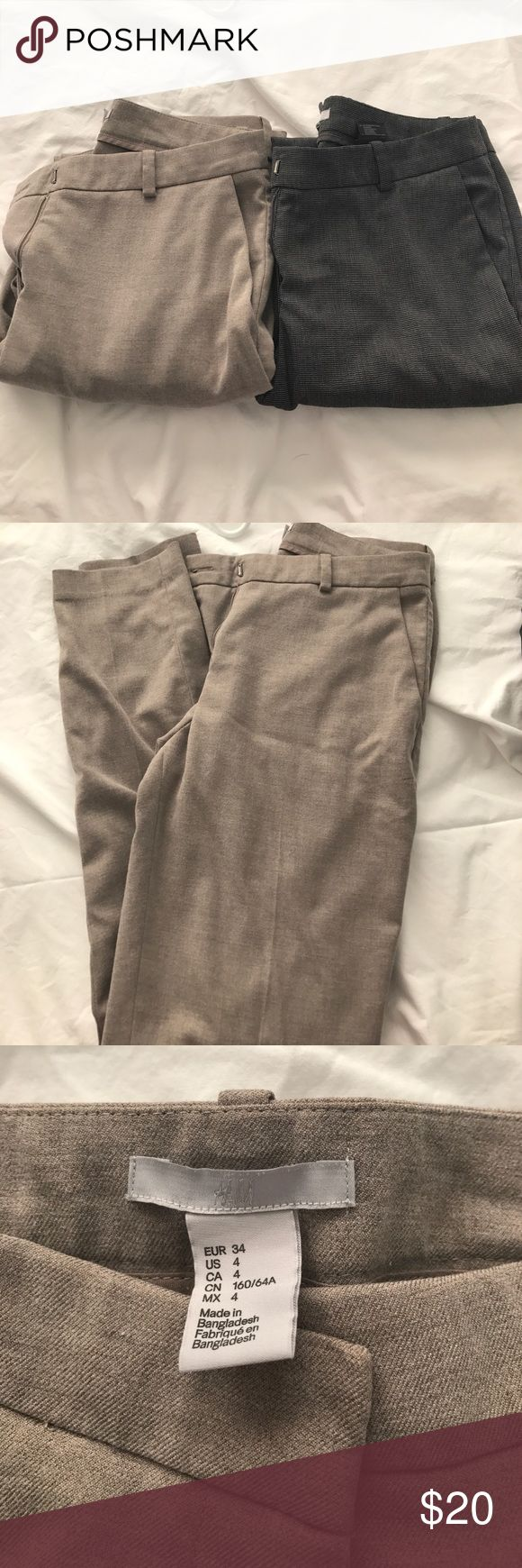 !!2 for 1!! H&M Straight Legged Trousers Two pairs of H&M straight legged dress pants. Size 4. One pair is a light beige color and one pair has a small black and white design. H&M Pants Straight Leg