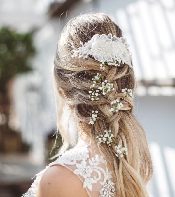 Holly Young Hats Boutique » 'Enchanted' Bridal Hair Comb#hairvine #lace #romantic #relaxed #weddinghair #haircomb #wedding #hair #braid #plait #frenchplait #countrywedding #cornwall #headpiece #headpieces #vine #blossom #weddinginspo #flowers