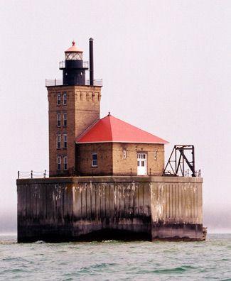 Port Austin Reef Light, located 2 1/2 miles north of Port Austin in Lake Huron, Michigan--LHF-history