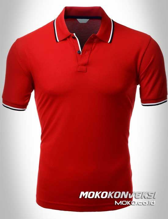 Polo Shirt Dual Stripes Accent | MOKO.CO.ID Kaos Kerah Polo Warna Merah.
