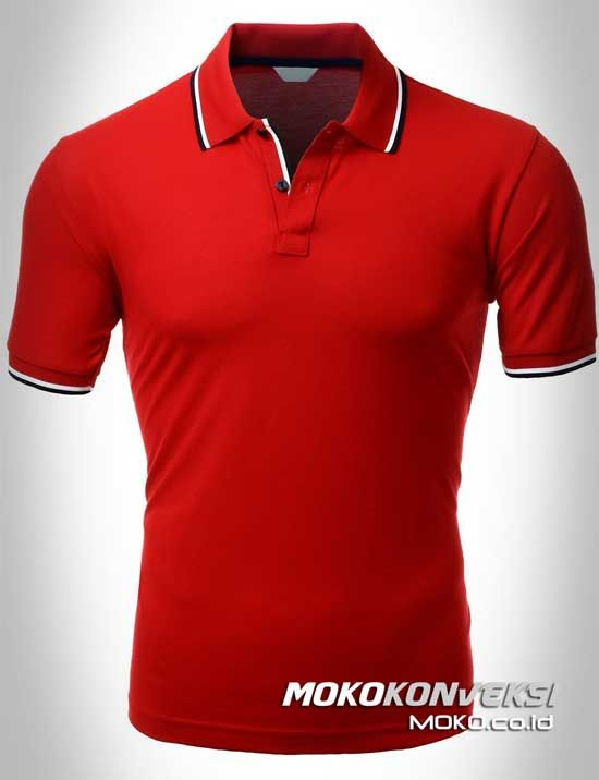 Polo Shirt Dual Stripes Accent | MOKO.CO.ID Kaos Kerah Polo Warna Merah.