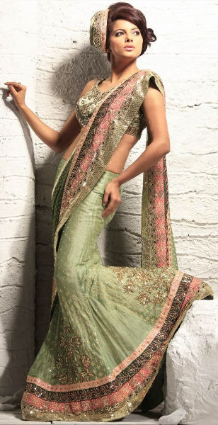 Light Green Color lehenga saree fabricated on Net - Outfit #desi #indian #fashion #pakistani #southasian #wedding