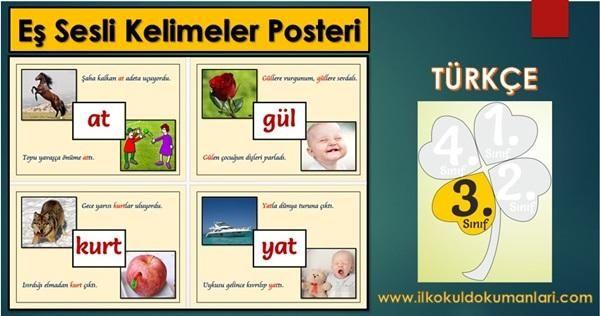 Görselli Eş Sesli Kelimeler Poster Çalışması - İlkokul Dökümanları