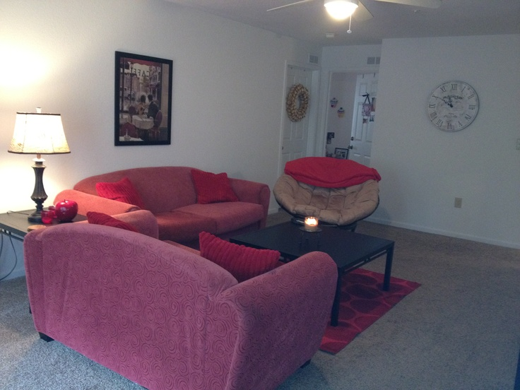 My College Apartment Living Room. Pops Of Red!
