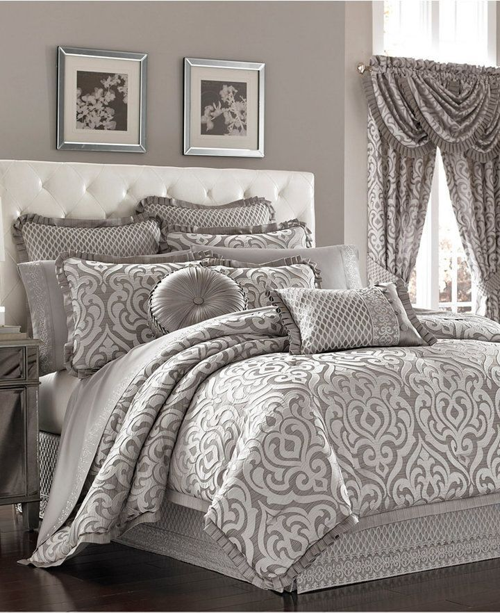 J Queen New York Babylon Queen Comforter Set. J Queen's Babylon comforter set infuses your room with an old world Moroccan-inspired design using a silver ground with white textured damask print & woven diamond stitching.  Bedroom. Sheets. Pillow. Shams.