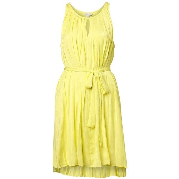 Witchery Pleat Trapeze Dress ($105) ❤ liked on Polyvore featuring dresses, citrus, short front long back dress, yellow swing dress, hi lo dress, mullet dress and short in front long in back dress