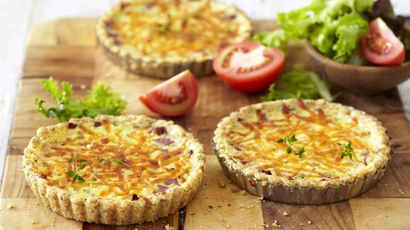 Salami Quiche with a Poppyseed Crust