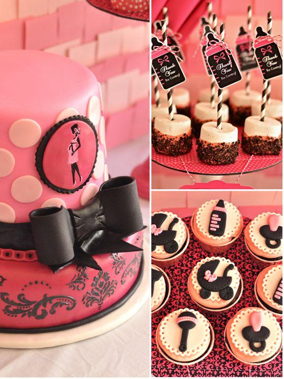 Pink & Black Glam Baby Shower ideas #girlbabyshower