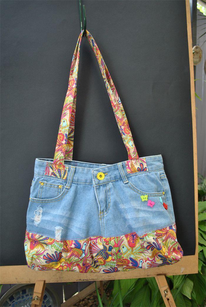 Cassandra - Jean Bag with colourful bird fabric | Witching Hour | madeit.com.au