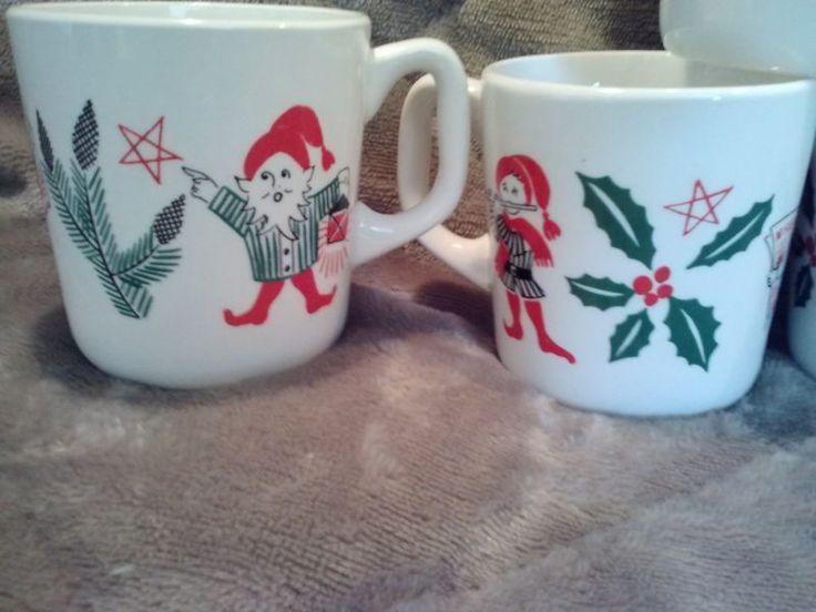 RARE Stavangerflint Norway Mug Cup Christmas Elf Elves Set of 10
