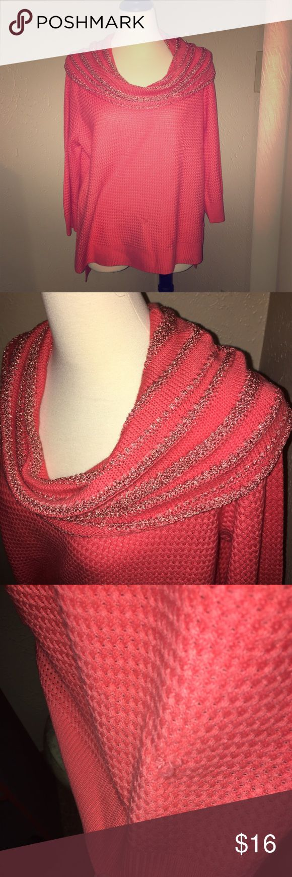 Beautiful coral cowl neck sweater This is such a cute sweater. Looks awesome with a denim collared shirt under. There is a small snag in the front but you may be able to cut or sew in. Other then that it was only worn once so in brand new condition. True to size as well. ☺❤️ New York & Company Sweaters Cowl & Turtlenecks