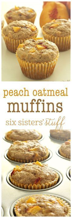 Peach Oatmeal Muffins on SixSistersStuff.com - the perfect on-the-go breakfast and also can be frozen for another day!