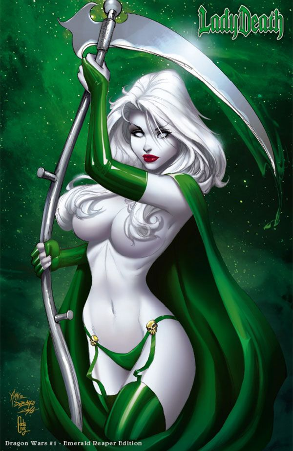 LADY DEATH: DRAGON WARS #1 - EMERALD REAPER JEWELED EDITION Story: Jesse Leon McCann Interiors: Ivan Reis Cover: Mike DeBalfo, Ceci de la Cruz