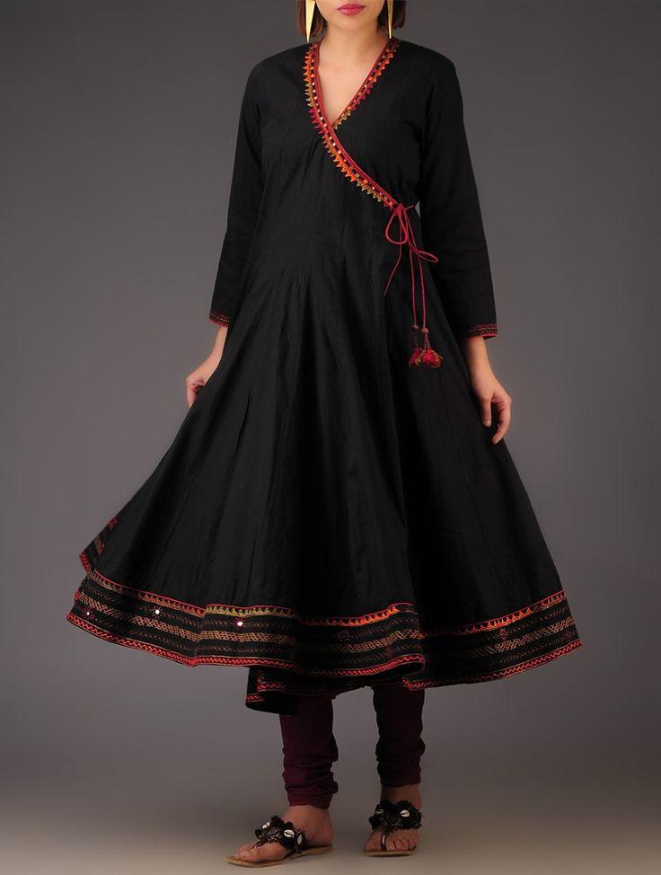 Buy Black Hand Embroidered Cotton Kalidar Angarakha Apparel Tunics & Kurtas Desert Song Folk Inspired in Silk and Khadi Online at Jaypore.com